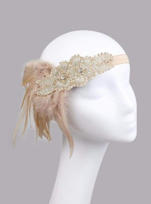 Girls Gatsby Inspired Embellished Feather Headpiece (Multiple Style Options) - Champagne - Hair Accessories