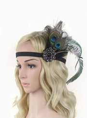Girls Gatsby Inspired Embellished Feather Headpiece (Multiple Style Options) - Peacock - Hair Accessories