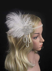 Girls Gatsby Inspired Embellished Feather Headpiece (Multiple Style Options) - Pearl - Hair Accessories