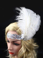 Girls Gatsby Inspired Embellished Feather Headpiece (Multiple Style Options) - White/Silver - Hair Accessories
