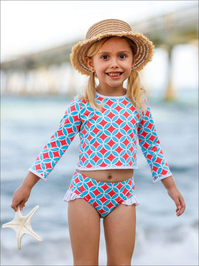 Girls Printed Long Sleeve Rash Guard Top & Side Ruffle Bottom Two Piece Rash Guard Swimsuit - Girls Two Piece Swimsuit