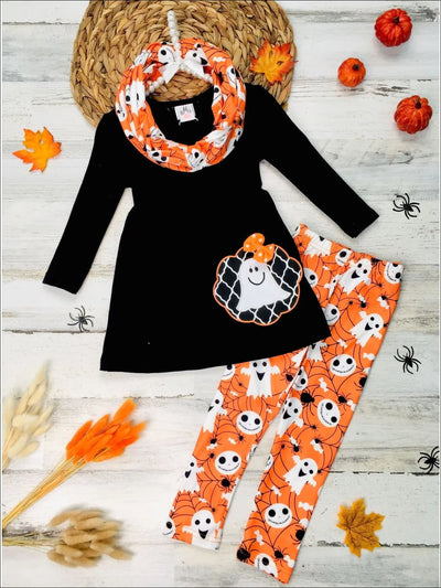 Girls Ghost Applique Long Sleeve Tunic Ghost & Spider Web Print Leggings & Scarf Set - Orange / 3T - Girls Halloween Set