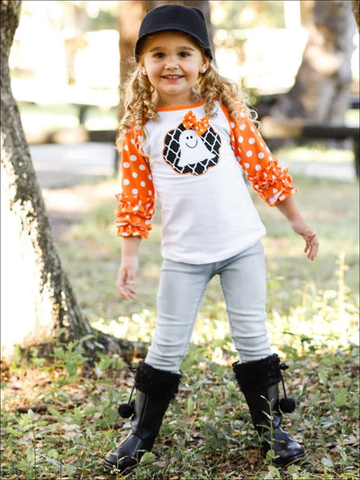 Girls Ghost Bow Print Long Ruffled Polka Dot Raglan Sleeve Top - Girls Halloween Top