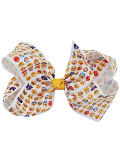 Girls Giant Emoji Print Hair Bow with Alligator Clip - One Size - Hair Accessories