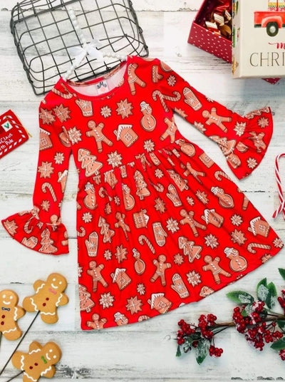 Girls Gingerbread A-Line Flared Long Sleeve Holiday Dress - Red / 2T/3T - Girls Christmas Dress
