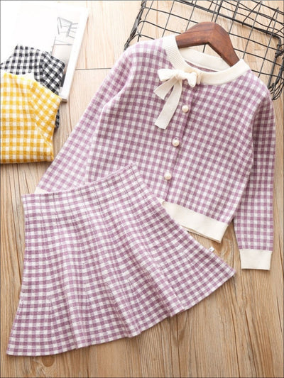 Girls Gingham Cardigan with Bow Applique & Matching A-Line Skirt - Purple / 2T - Girls Fall Dressy Set