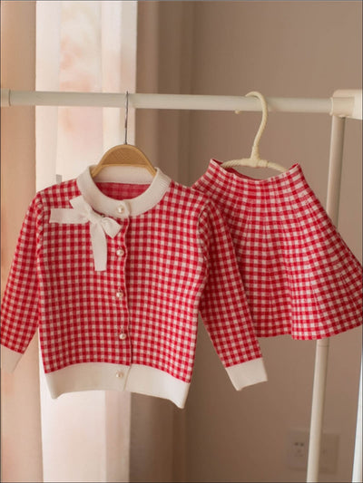 Girls Gingham Cardigan with Bow Applique & Matching A-Line Skirt - Red / 2T - Girls Fall Dressy Set