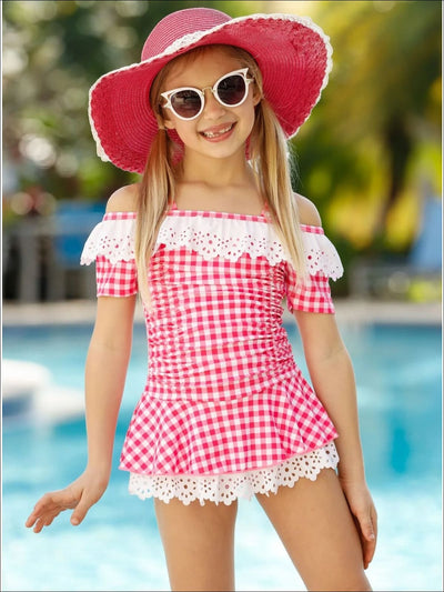 Girls Gingham Cold Shoulder Eyelet Ruffled One Piece Swimsuit - Girls One Piece Swimsuit