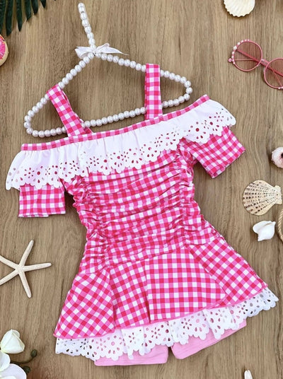 Girls Gingham Cold Shoulder Eyelet Ruffled One Piece Swimsuit - Pink / 4T/5Y - Girls One Piece Swimsuit