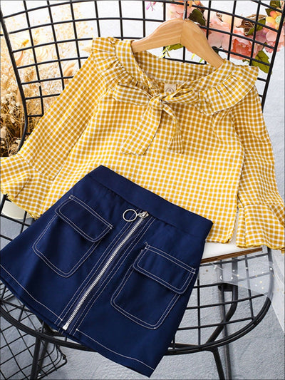 Girls Gingham Flare Sleeve Ruffled Sleeve Bow Collar Blouse & Blue Denim Skirt Set - Yellow / 3T - Girls Fall Casual Set