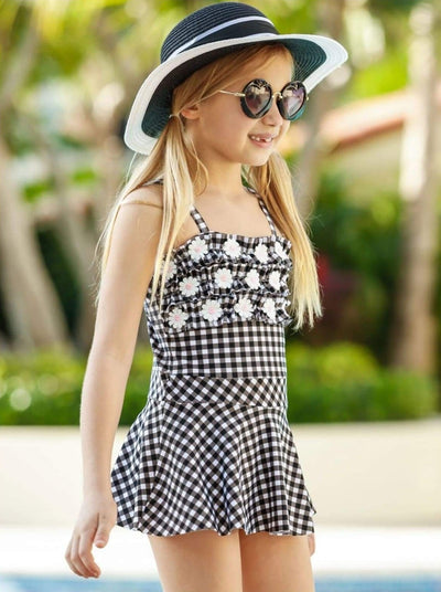 Girls Gingham Ruffled Daisy Skirted One Piece Swimsuit - Girls One Piece Swimsuit