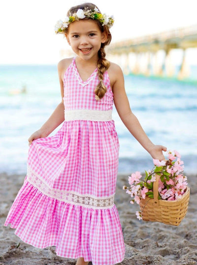Girls Gingham Ruffled Lace Insert Maxi Dress - Girls Spring Casual Dress