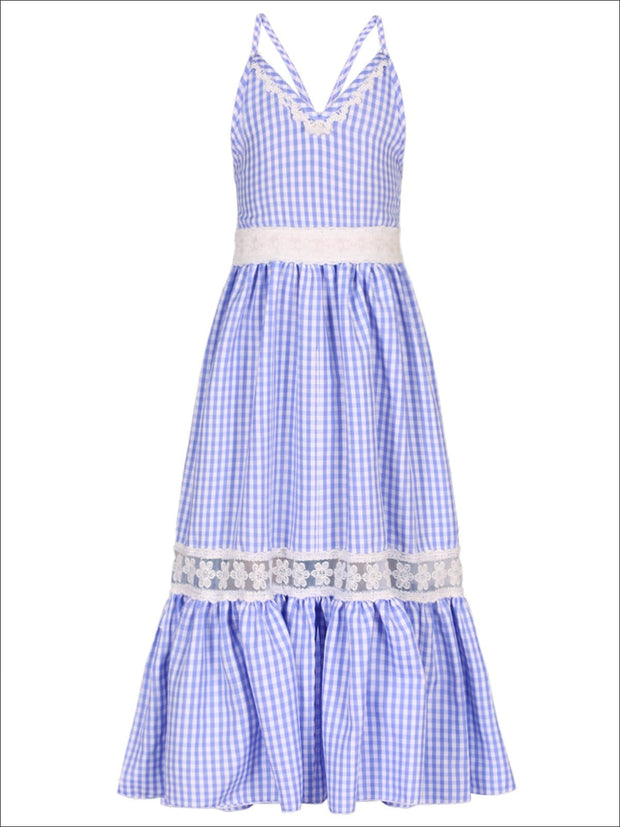 Girls Gingham Ruffled Lace Insert Maxi Dress - Blue / 2T/3T - Girls Spring Casual Dress
