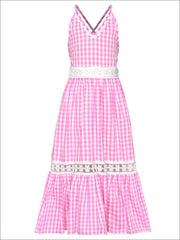 Girls Gingham Ruffled Lace Insert Maxi Dress - Pink / 2T/3T - Girls Spring Casual Dress
