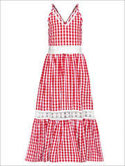 Girls Gingham Ruffled Lace Insert Maxi Dress - Red / 2T/3T - Girls Spring Casual Dress