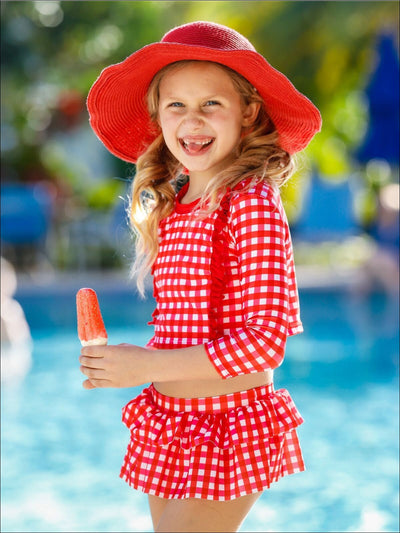Girls Gingham Ruffled Rash Guard Skirted Two Piece Swimsuit - Girls Two Piece Swimsuit