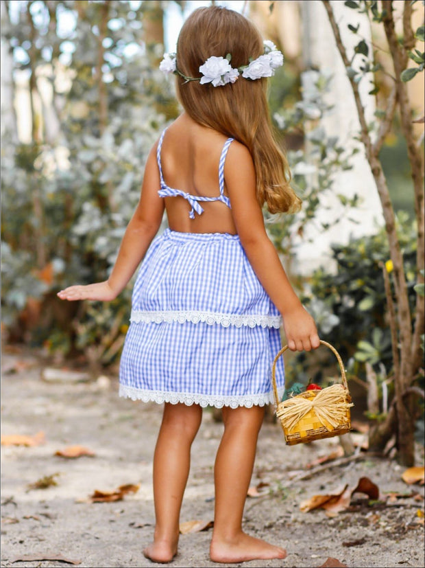 Girls Gingham Ruffled Tiered Lace Edge Heart Applique Dress - Girls Spring Casual Dress