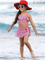 Girls Gingham Ruffled Top and Wrap Skirt Two Piece Swimsuit - Girls Two Piece Swimsuit