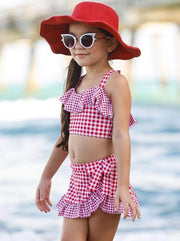 Girls Gingham Ruffled Top and Wrap Skirt Two Piece Swimsuit - Burgundy / 3T/4T - Girls Two Piece Swimsuit