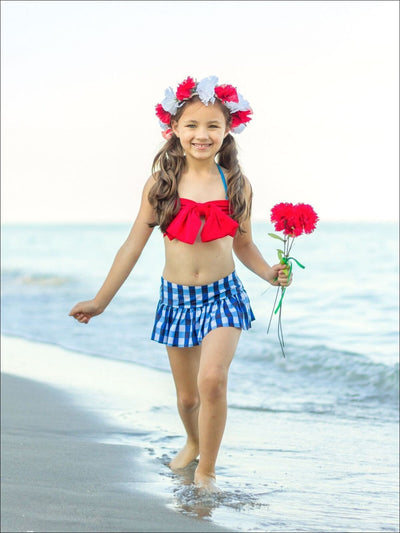 Girls Gingham Skirted Two Piece Swimsuit with Large Bow - Fall Low Stock