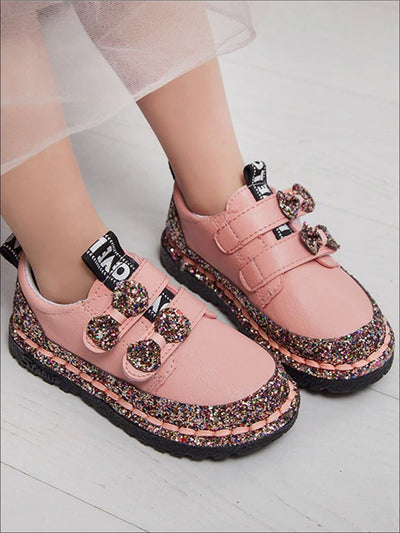 Girls Glitter Bow Double Strap Princess Sneakers - Pink / 5.5 - Girls Sneakers