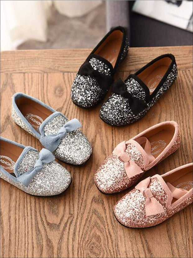 Girls Glitter Bow Knot Princess Slip-On Flats Shoes - Girls Loafers