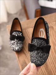 Girls Glitter Bow Knot Princess Slip-On Flats Shoes - Black / 1 - Girls Loafers