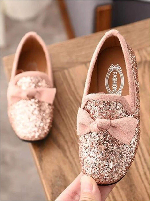 Girls Glitter Bow Knot Princess Slip-On Flats Shoes - Pink / 1 - Girls Loafers