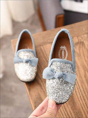 Girls Glitter Bow Knot Princess Slip-On Flats Shoes - Silver / 1 - Girls Loafers