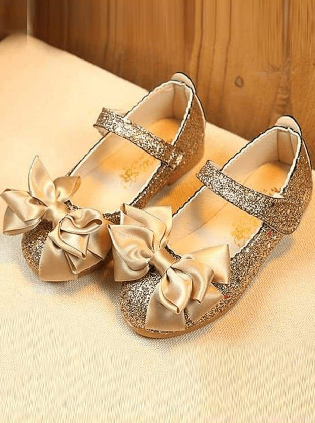 Girls Glitter Bow Shoes - gold / 1.5 - Girls Flats