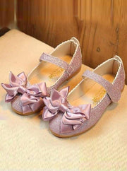 Girls Glitter Bow Shoes - light purple / 1.5 - Girls Flats