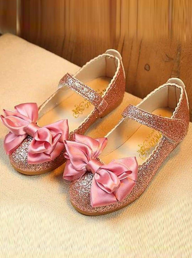 Girls Glitter Bow Shoes - pink / 1.5 - Girls Flats