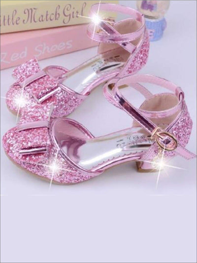 Girls Glitter Bow Tie Princess Heels with Ankle Strap - Pink / 1 - Girls Flats
