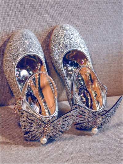Girls Glitter Butterfly Mary Jane Kitten Heel Shoes - Silver / 1 - Girls Flats