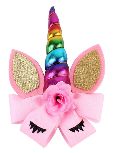 Girls Glitter Cat Ear Unicorn Hair Bow - Multicolor - Hair Accessories