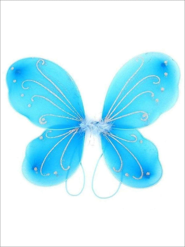 Girls Glitter Fairy Butterfly Wings ( Multiple Color Options) - Blue - Girls Halloween Costume