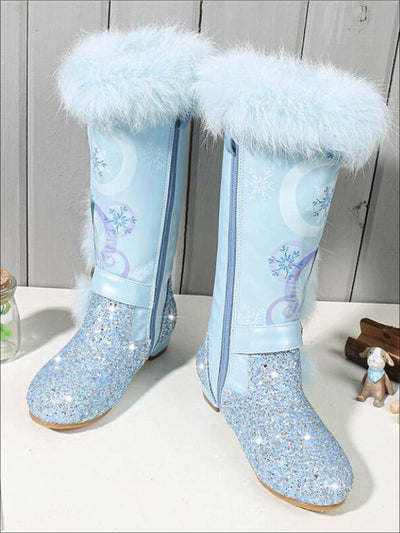 Girls Glitter Faux Fur Winter Knee Boots - Blue / 8 - Girls Boots