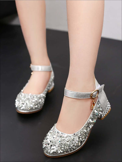 Girls Glitter Flats with Star/Moon Charm and Rhinestone Embellished Heel By Liv and Mia - Girls Flats