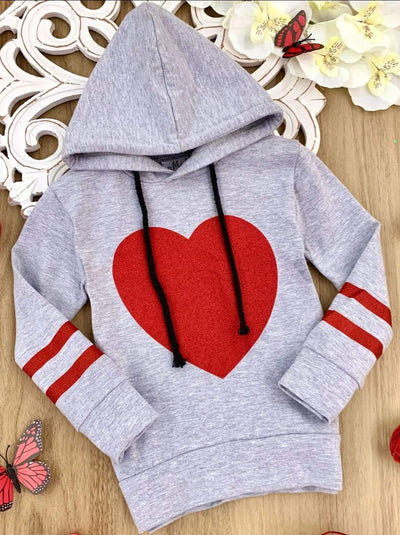 Girls Glitter Heart Sleeve Stripe Hoodie Sweater - Grey / 3T - Girls Fall Sweater