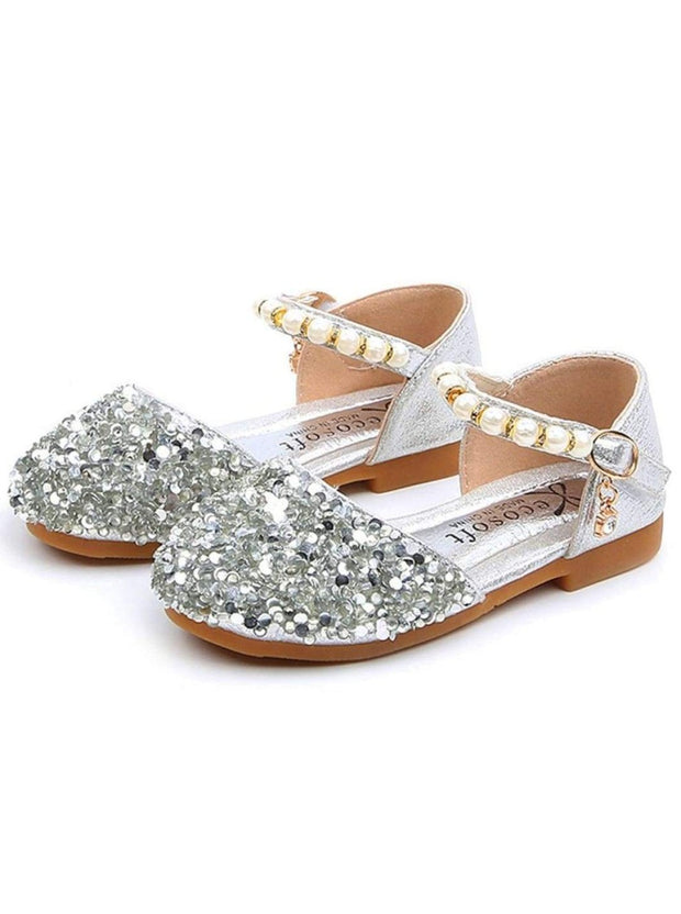 Girls Glitter Pearl Strap Dressy Flats Shoes - Silver / 9 - Girls Flats