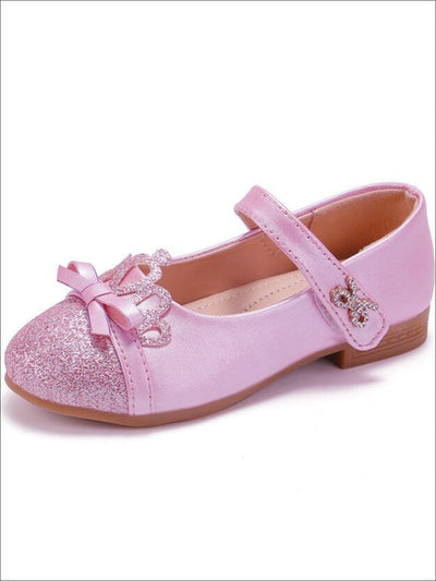 Girls Glitter Princess Crown Mary Jane Flats - Girls Flats