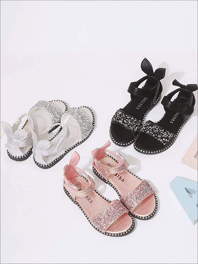 Girls Glitter Rhinestone Bunny Ear Velcro Strap Sandals - Girls Sandals