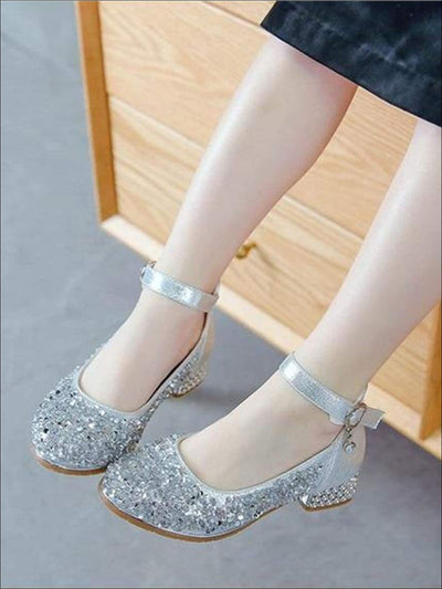 Girls Glitter Sequins Mini-Heel Mary Jane Shoes - Girls Flats