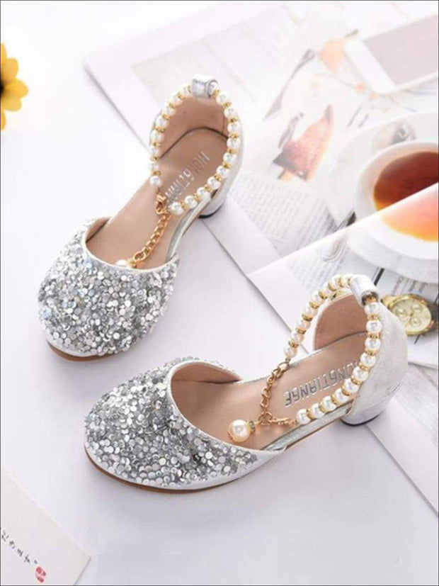 Girls Glitter Sequins Princess Heels with Pearls Ankle Strap - Girls Flats
