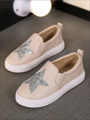 Girls Glitter Star Slip On Sneakers - Beige / 1 - Girls Loafers
