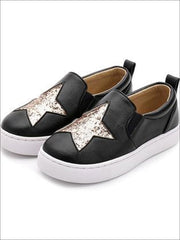 Girls Glitter Star Slip On Sneakers - Black / 1 - Girls Loafers
