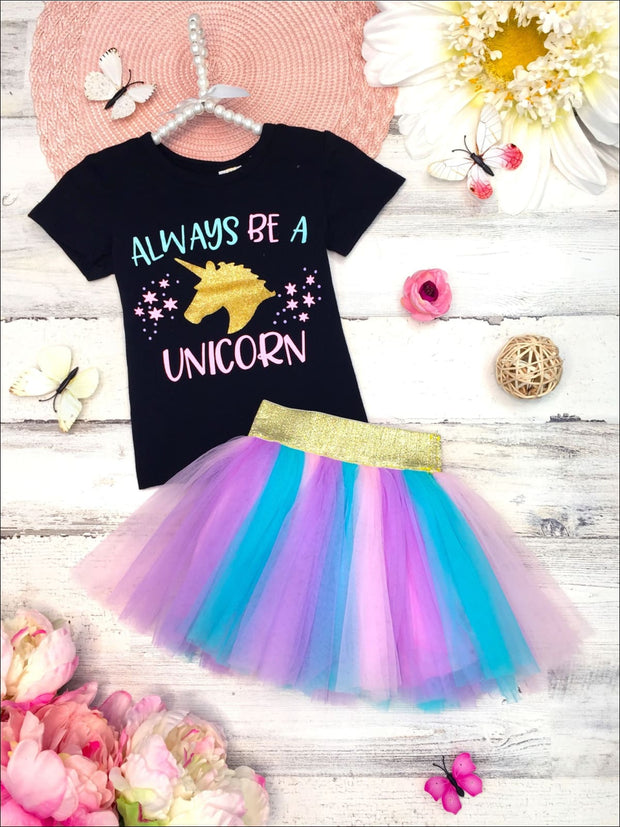 Girls Glittered Always Be a Unicorn Top & Multicolor Tutu Skirt Set - Multicolor / XS-2T - Girls Spring Casual Set