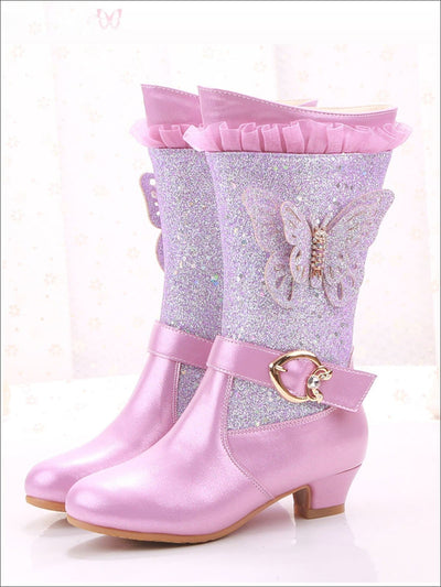 Girls Glittering Cowgirl Boots With Glitter Butterfly Embellishment - Purple / 9 - Girls Boots