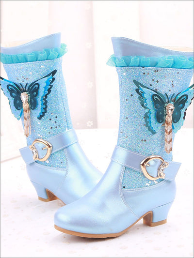 Girls Glittering Cowgirl Boots With Rhinestone Butterfly Embellishment - Girls Boots