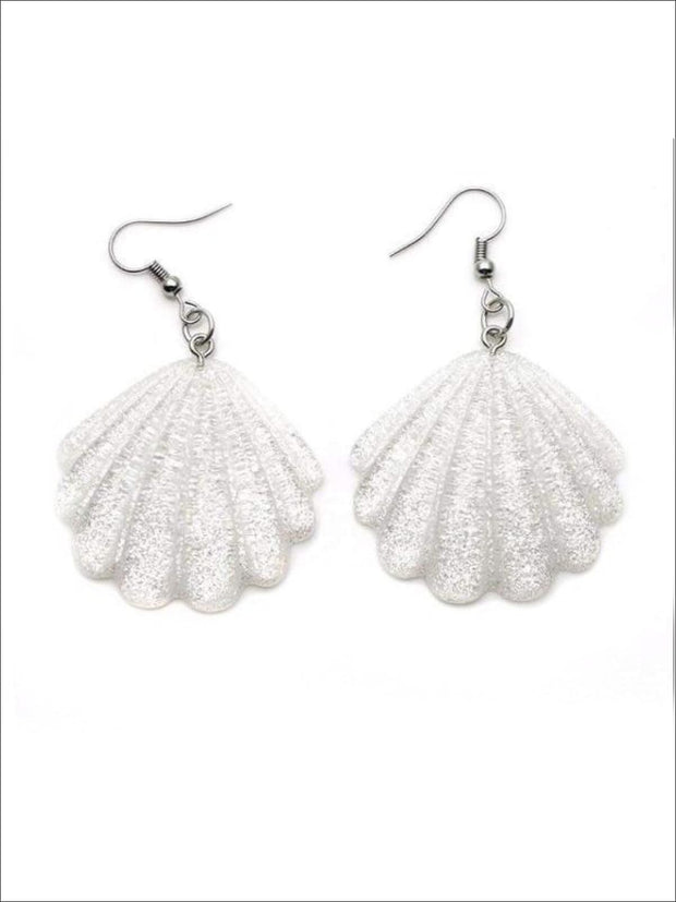 Girls Glittery Mermaid Seashell Earrings - Accessories